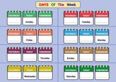 Wochentagarbeitsblätter, Spur und schreiben die Wochentage Lizenzfreie Stockfotos