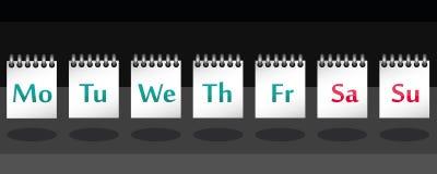 7 Wochentage auf Anmerkung im Vektor Stockbilder