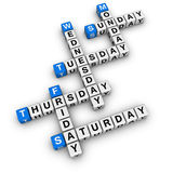 Wochentagkreuzworträtsel Stockbild