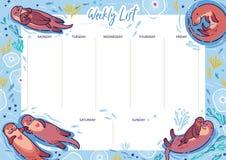 Wochenzeitung und tägliche Planer-Schablone Organisator und Zeitplan mit Anmerkungen Otter in der Liebe stockbild