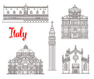 Włochy architektury budynków wektoru ikony Obraz Royalty Free