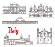 Włochy architektury budynków wektoru ikony Zdjęcie Stock