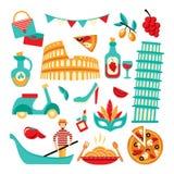 Włochy dekoracyjny set Obrazy Royalty Free