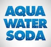 Wod krople na błękitnym tle formułują aqua, woda, soda Obraz Stock