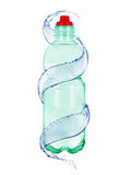 Wod pluśnięcia z butelką woda mineralna Fotografia Royalty Free