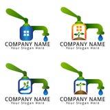 Woda, ekologia, Wellness, środowisko, rolnictwo i Naturalny pojęcie logo z pompą wodną, Obraz Royalty Free