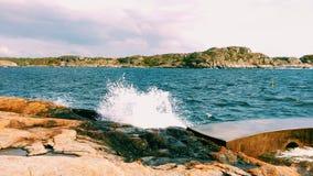 Woda, fala, wybrzeże, Sweden, błękitny Zdjęcia Royalty Free