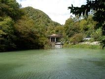 Woda, las, drzewa, jezioro, piękno, dom, odtwarzanie, natura, góry, ulistnienie, zieleń, roślinność, cisza obrazy stock