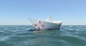woda morska łódkowaty spławowy papierowy biel Zdjęcia Stock