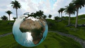 Woda nad ogródem między palmami przy rankiem i kula ziemska zdjęcie wideo