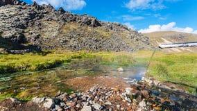 woda od wiosny w Landmannalaugar w Iceland Obraz Royalty Free