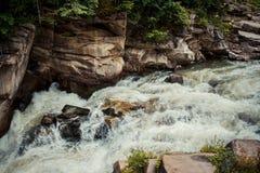 Woda płynie prędko nad strumienia skalistym dnem Zdjęcia Stock
