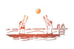 Woda, polo, piłka, rywalizacja, sporta pojęcie Ręka rysujący odosobniony wektor ilustracji