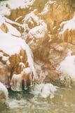 Woda przepływy nad stronniczo marznącą Górną kataraktą Spadają w wiejskim Indiana Zdjęcie Royalty Free