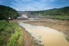 Woda rzeka przy grobelnym susza problemem Zdjęcie Royalty Free