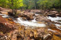 Woda spadków kaskada na Tropikalnym lesie Fotografia Royalty Free