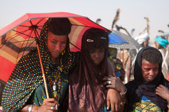 Wodaabe kvinnor under bot Salee, Niger royaltyfria bilder