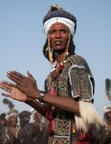 Wodaabe man dancing the Yaake dance , Cure Salee,Niger. Wodaabe man at Gerewol, Cure Salee, Niger stock images