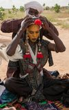 Wodaabe man preparing for Gerewol, Niger Stock Photography