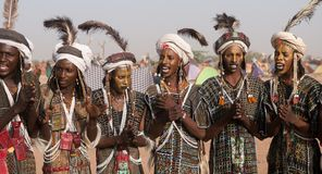 Wodaabe men at Gerewol, Cure Salee, Niger Royalty Free Stock Photography