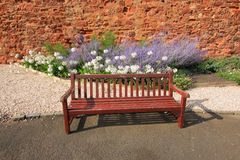 Wodden bench and lavender Stock Photo