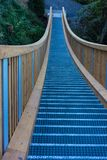 Wodden chain bridge in forest area royalty free stock photography