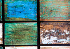 Wodden målarfärg och texturer på cupper och den tenn- canen Arkivfoton