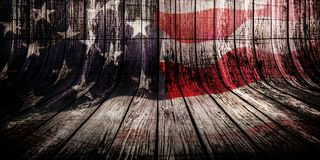 Woden background with overlayed american flag, veterans day concept. 11. november royalty free illustration