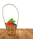 Woden basket with fruits Stock Photo