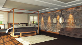 Woden bedroom Stock Photo
