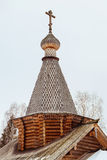 Woden dome. Of Russian Orthodox church. Wooden church. Church with wooden cross and dome Stock Images