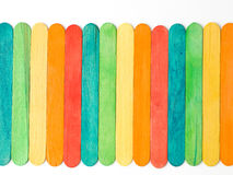 Woden sticks. Colorful wooden fence on white background. Useful for business cards templates and web royalty free stock photo