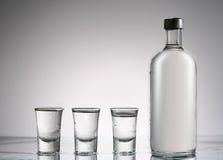 Wodka abfüllen noch und Gläser d lizenzfreie stockbilder