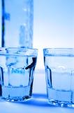 Wodka en glazen Stock Foto's