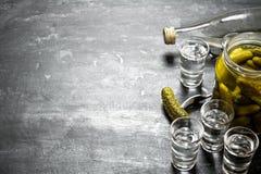 Wodka mit in Essig eingelegten Gurken Lizenzfreies Stockbild