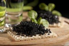 Wodka und schwarzer Kaviar lizenzfreie stockfotografie