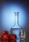 Wodka und Tomaten stockfoto