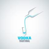 Wodkaschnapsglasflaschenhintergrund Stockfoto