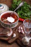 Wodkaweinglas, Borschtsch mit Sauerrahm und salziges Fett stockbild