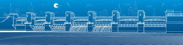 Wodna elektrownia Rzeki tama Energii stacja Wodna władza Miasto infrastruktury przemysłowa ilustracyjna panorama Białe linie na b royalty ilustracja