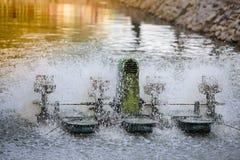 Wodna turbina pracuje w stawie Fotografia Royalty Free