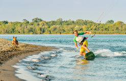 Wodna zabawa i kiteboarding w Ada Bojana, Montenegro, z psem Obraz Royalty Free
