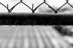 Wodne kropelki na starych stalowych grilles fotografia stock
