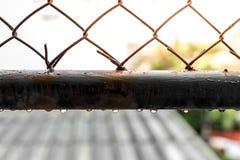 Wodne kropelki na starych stalowych grilles zdjęcia stock