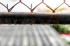 Wodne kropelki na starych stalowych grilles obraz royalty free