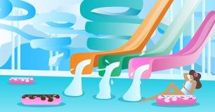 Wodnego obruszenia wektoru ilustracja Pływacki basen z drymba parkiem ślizgać się puszek Uwalnia pustą przestrzeń wchodzić do twó royalty ilustracja