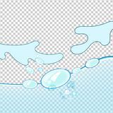 Wodnej fala przejrzysta powierzchnia z bąblami Obrazy Royalty Free
