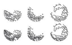 Wodnej fali linii logo szablon japończycy tajlandzki ilustracja wektor