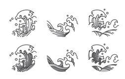 Wodnej fali linii logo szablon japończycy tajlandzki royalty ilustracja