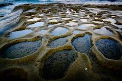 Wodni kratery przy plażą Obrazy Royalty Free